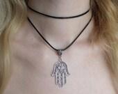 Double Hamsa choker, choker necklace, black choker, hamsa jewelry, lucky hand necklace, grunge choker, boho chic, symbol, spiritual, hippie