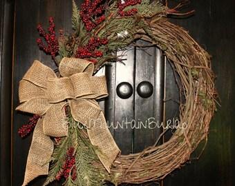 Red Berries & Pine Grapevine Wreath, Winter Wreath, Front Door Wreath, Primitive Wreath