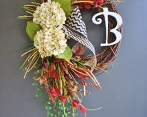 BEST SELLING! Fall Grapevine Wreath with Burlap. Fall  Wreath. Autumn Wreath. Winter Wreath. Door Wreath. Monogram Wreath. Grapevine Wreath.