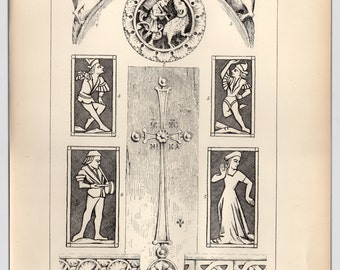 1885, Antique Print, Architectural Print, Medieval Ivory Carvings, Original Print