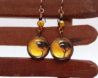 Sarengeti Sky Dangle Earrings, Handmade, Art jewelry, Copper earrings.