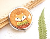 Pocket Mirror Fox in jacket Magical Fox Handmade Decor Polymer clay Gift ideas for Mom Christmas gift Fox Woodland accessories MAKE TO ORDER