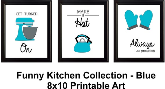 Funny kitchen art set of 3 digital download by hotcreativemess for Funny kitchen set