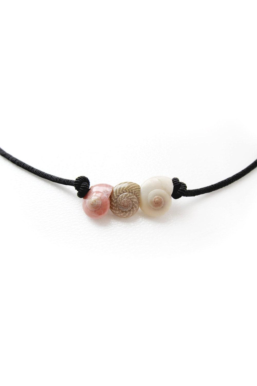 Seashell Necklace Seashell Choker Sea shell Black String