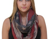 Free Shipping in USA - Rustic Brown American Flag Infinity Scarf/ Patriotic Red White & Blue scarf