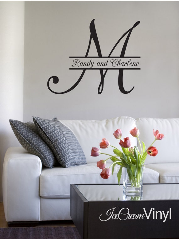 Monogram Name with Initial Wall Decal for Family Couple Vinyl Decor Great for Wedding Anniversary