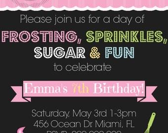 Baking / Cake / Cupcake / Sprinkles Birthday Party Invitation