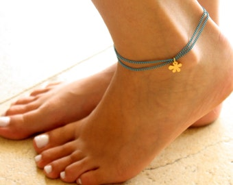 Turquoise Anklet - Ankle Bracelet - Layeyed Anklet - Foot Jewelry - Foot Bracelet - Chain Anklet - Summer Jewelry - Beach Jewelry