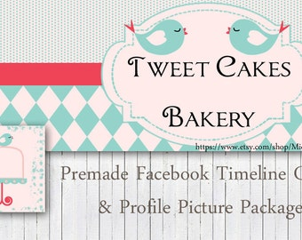 DIY Facebook Cover Package - Facebook Timeline Cover and Profile Picture - Tweet Cakes Bakery Digital Instant Download