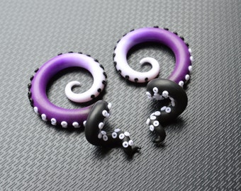 Tricolor Tentacle Plug or Octopus Tentacles Gauges, Earrings for Stretched Lobes, Polymer Clay 6g 5g 4g 3g 2g 0g 00g 7/16 1/2 9/16 5/8 3/4