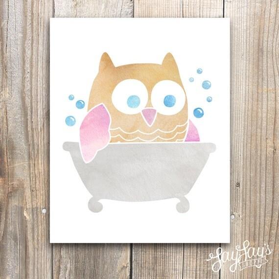 Bathroom Decor Owls: Owl Bathtub Wall Art Print Bathroom Decor Bubble By