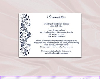 navy wedding enclosure cards template diy blue hotel accommodation card printable invitation inserts