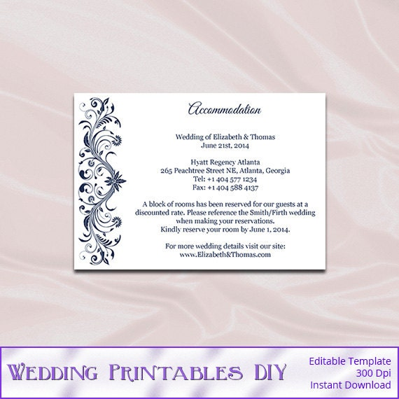 Navy Wedding Enclosure Cards Template Diy Blue Hotel – Wedding Information Card Template