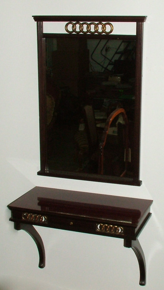 Foyer Office Phone Number : Vintage mahogany mirror console set with wall shelf at