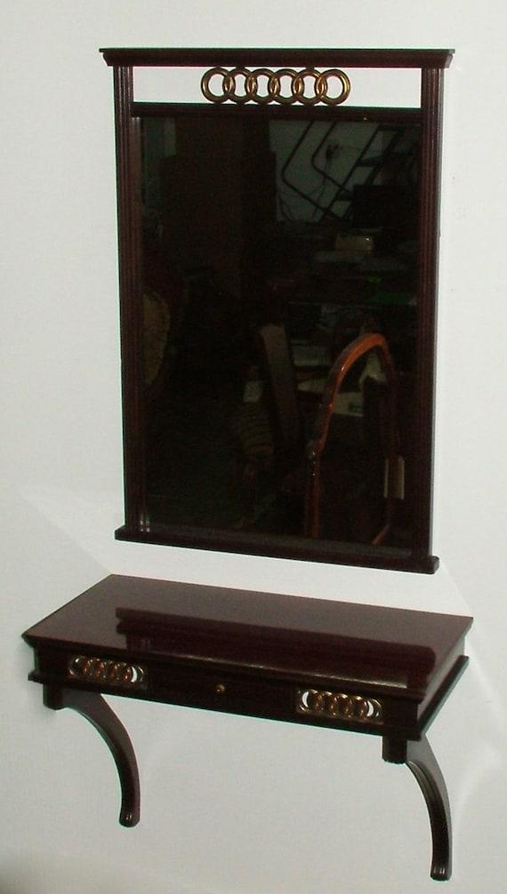 5791: VINTAGE Mahogany MIRROR CONSOLE Set with Wall Shelf at