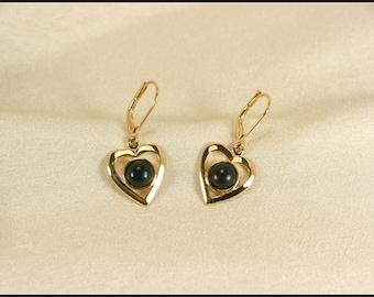 Black gold earrings, Black heart earrings, Gold vermeil earrings, Gold earrings dangle with black wood, gold heart earrings, Romantic gifts