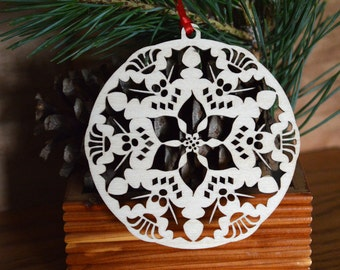Wood Poinsettia ornament Holiday decoration intricately cut Poinsettia decoration
