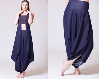 Harem Pants, Skirt pants, Harem pants women, Wide leg pants, Denim pants, Designer clothing, Plus size clothing, Royal Design, H2