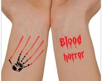 Halloween Temporary Tattoo  Blood and Horror  Wrist Tattoos