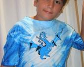 Hand Painted Dragon, Blue Tie Dye 100% cotton T-shirt