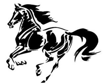 Horse decal, Mustang sticker, Western wall decal, Girls room decal, Dorm room decal-28 X 33 inches