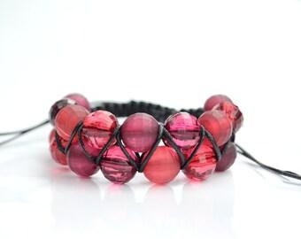 Summer Berries Shamballa Bracelet, Autumn 2 row Shamballa Bracelet, 2 Row Burgundy and Red Bead Shamballa Bracelet, Burgundy Bracelet