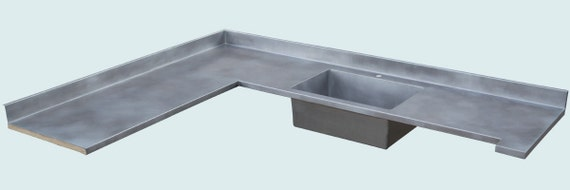 Zinc Countertop With Integral Backsplash By Handcraftedmetal