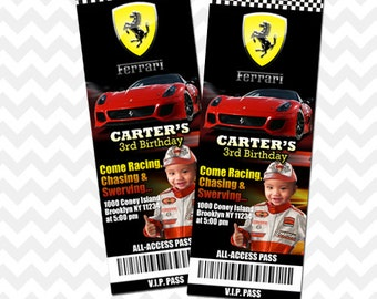 Ferrari Invitation, Party Printable, Racing Invitation, Race Car Party Printable, Customized