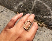 Rectangle Ring - Sterling Silver Band / Brass