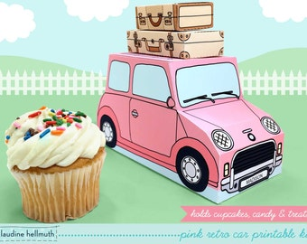 pink retro car -  cupcake box holds cookies and treats, gift and favor box, party centerpiece printable PDF kit - INSTANT download