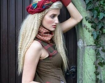 Damzel in Bliss Knit Dress SMALL-MEDIUM handmade, plaid, tartan, knit, dress, upcycled, rework, eco fashion, stretch, fall fashion