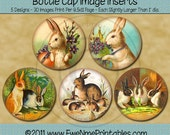Instant Download - Printable Bottle Cap Images - Spring Bunnies - Digital PDF and/or JPG File