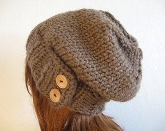 Slouchy Knit Hat, Cloche Hat, Chunky Wool Hat / KEYSTONE / Taupe