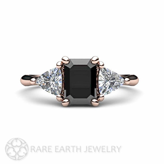 Black Diamond Engagement Ring 3 Stone Vintage Black by RareEarth