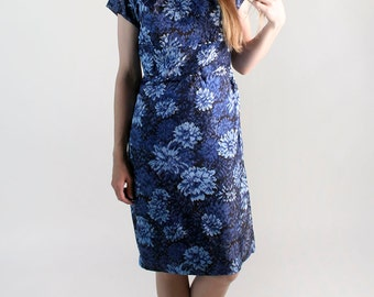 Vintage 1960s Dress - Floral Cocktail Dress in Shades of Blue - Large