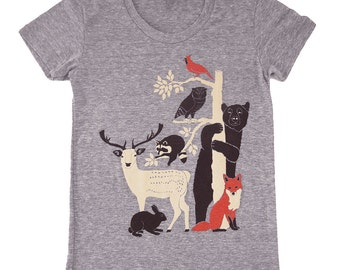Forest Friends Womens Girls T-Shirt Gray Tee Shirt Deer Bird Fox Rabbit Owl Bear Raccoon Animals Nature Woodland Folk Retro Tree Grey Tshirt