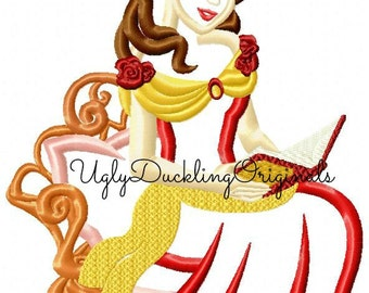 Belle Princess Reading Beauty Applique Design Embroidery Machine Digital Download