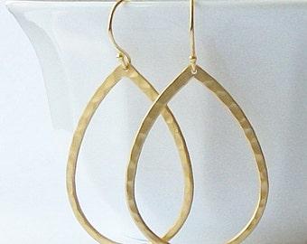 Summer Sale! Matte Gold Hammered Hoop Earrings, Hoop Earrings, Gold Hoops