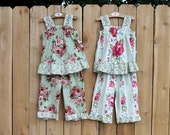 Matching-But-Different Coordinating Twin Girl Outfits Two Ruffle Capri Pant & Floral Tops Twin Girl Clothes Size 12 month - 4T Twin Clothing