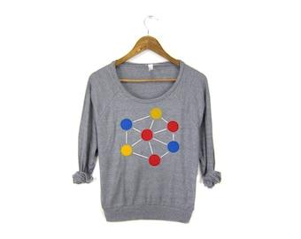 Molecule  Sweatshirt - Oversized Lightweight Long Sleeve Pullover Raglan Sweater in Heather Grey - Women's Size S-3XL