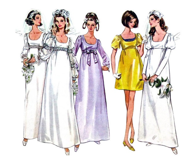 1960s Vintage Wedding Dress Pattern Butterick 5564 Empire Bridesmaid Dress Size 8 or 10
