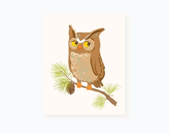 Owl wall art - woodland art for kids - nursery wall decor for baby