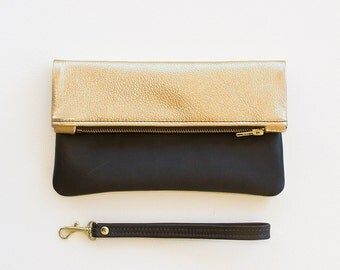 Gold Leather Fold Over Clutch, Metallic Gold Leather Fold Over Wristlet, Gold Leather Bridal Clutch, Leather Wedding Clutch, Evening Clutch