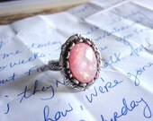 First Love - Ring - An Acrylic Pink Opal, Silver Ring, Gifts for Women - Handmade Jewelry by HoneyNest