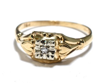 Art Deco 14K & Diamond Hearts Promise Ring - Engagement Ring - Size 6