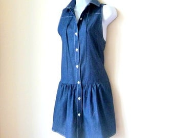 Denim Dress - Sleeveless - Button Front - Collared - Drop Waist - Designer - Cotton - High Fashion - Layer - Extra Small - Loup - Recycled