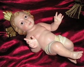 "Vintage Xlg.18"" Stunning Infant Jesus Creche Figure w/Crown,Risa Glass Eyes Olot Spain Devotional Religious Advent Icon"