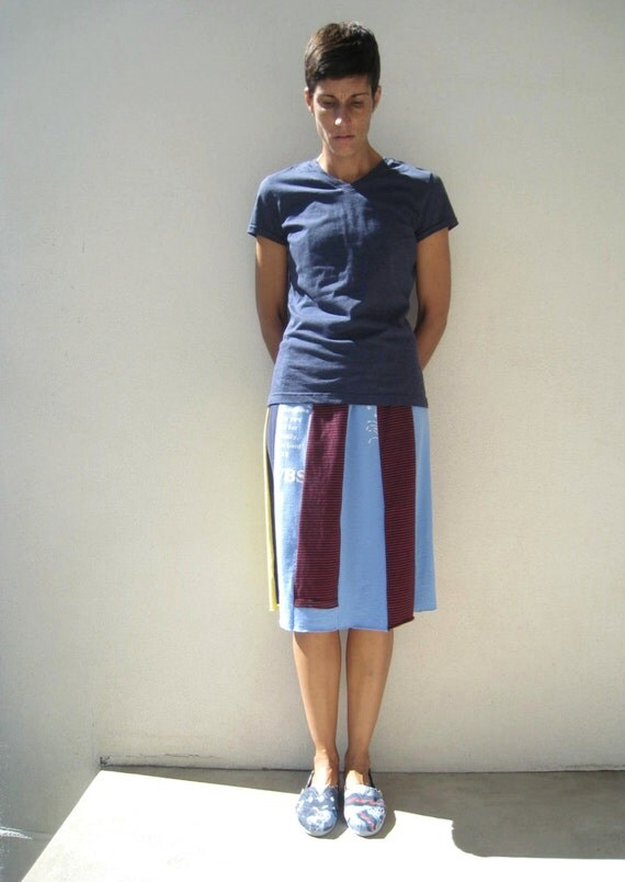 Womens TShirt Skirt Recycled Tee Skirt Handmade Skirt Yellow Red Blue Gray Knee Length Upcycled Fashion Cotton Fun Soft ohzie