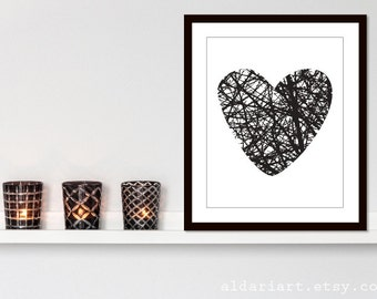 Branches Heart Art Print - Modern Heart Wall Art - Home Decor - Tree Heart Art - Black and White - Halloween