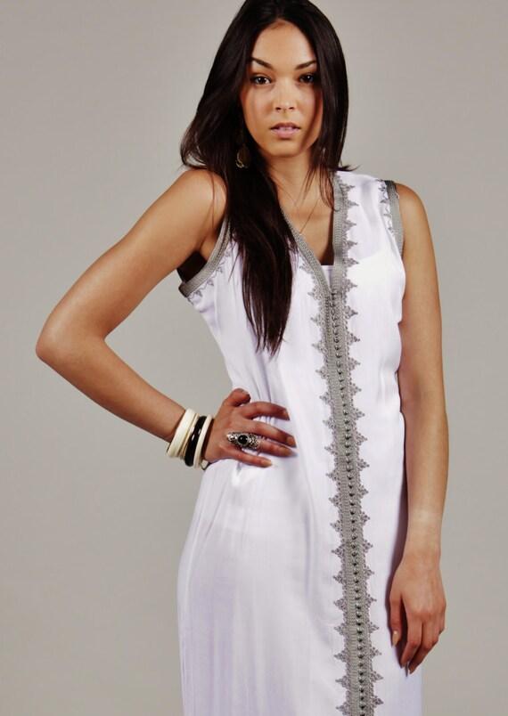 Autumn Dress White Non Sleeve Kaftan Caftan-Khalida-Resort Kaftan, lounge wear,beach kaftan, beach wedding, birthday, winter dress